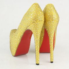 Yellow Glitter Heels