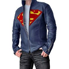 This Superman leather jacket turns you into a badass Man of Steel! Stylized Superman logo on chest. Superman fans, get this Superman leather jacket TODAY! Superman Outfit, Superman Clothing, Superman Shoes, Superman Stuff, Film Jackets, Superman Man Of Steel, Superman Logo, Trench Coat Men, Blazers