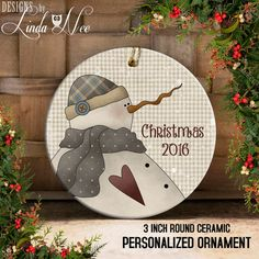 Christmas Ornament Snowman 2016 Christmas by DesignsbyLindaNeeToo Christmas 2016, Christmas Snowman, Christmas Crafts, Merry Christmas, Christmas Ornaments, Christmas Plates, Christmas Wood, Vintage Christmas, Snowman Crafts