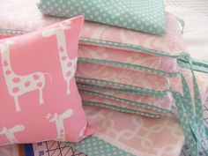 Hey, I found this really awesome Etsy listing at https://www.etsy.com/listing/178242209/baby-bedding-baby-pink-and-aqua-and-baby