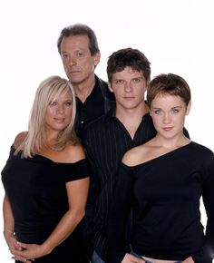 Sharon Watts, Den Watts, Dennis Rickman and Vicki Fowler. Played by Letitia Dean, Leslie Grantham, Nigel Harman and Scarlett Johnson. Eastenders Cast, Soap Stars, Tv Soap, And Peggy, Book Tv, Me Tv, East London, The Duff, Bbc
