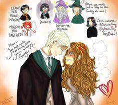 Resultado de imagem para dramione fan art kiss