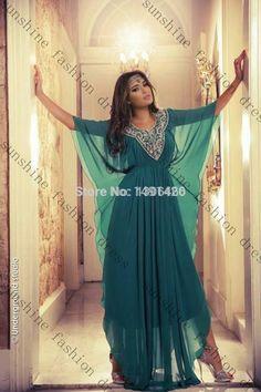 Hot Sexy Green Chiffon Half Sleeve Muslim Design Kaftan Dubai Fancy Farasha Abaya jalabiya Islamic Long Turkish Evening Dress