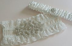 Wedding Garter Set French Lace Garter Silk by GartersByGarterLady
