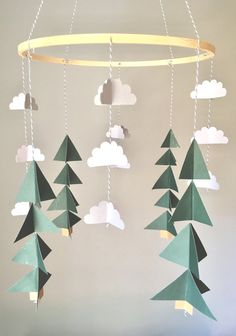 Tree mobile, camping mobile, woodland mobile, cloud mobile, camping bedroom, boys room, rustic nursery, mountain mursery, baby boy mobile