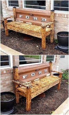 vintage pallets garden bench