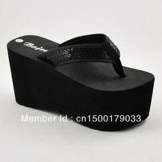 Women's super platform flip flops shoes flip sandals sequin herringbone tape 9cm