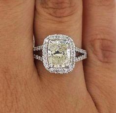 4.01 Ct Round Cut Enhanced Vs Halo Diamond Engagement Ring 14K White Gold
