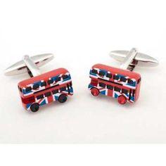 Gemelos para camisa, Gemelos de acero bañados en Rodio, Gemelos esmaltados en rojo, autobús de Londres. http://www.tutunca.es/gemelos-bus-londinense
