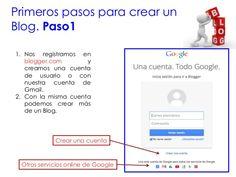 Primeros pasos para crear un Blog. Paso1 1. Nos registramos en blogger.com y creamos una cuenta de usuario o con nuestra c...