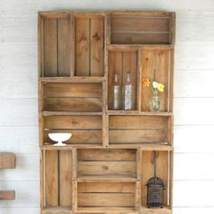 For Chase's room: apple crate shelving
