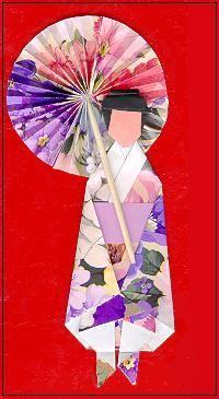 handmade card: Origami Kimono Doll ... red card ... delightful parasol ...