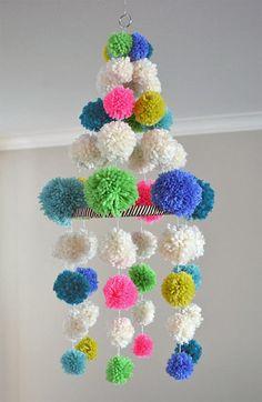 DIY Pom Pom Chandelier via @Marianne Glass Correa (smallforbig.com)