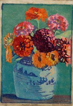 Margaret Jordan Patterson - Zinnias And Marigolds - Woodblock Print