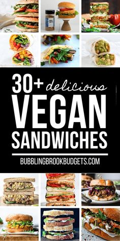 These delicious vegan sandwiches are great ideas for back to school lunches or easy work lunches! Easy vegan sandwich recipes that are sure to please the whole family and even the meat eaters, too. Vegan Sandwich Recipes, Lunch Recipes, Vegan Recipes, Fast Recipes, Easy Lunches For Work, Easy Work, Frozen Veggie Burgers, Vegan Crab, Sandwiches For Lunch