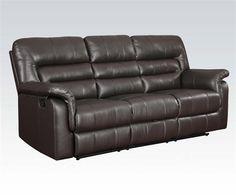 Neon Dark Brown Bonded Leather Match Wood Motion Sofa