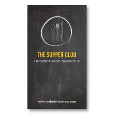FORK SPOON KNIFE CHALKBOARD LOGO Customizable Business Card for Catering, Chefs, Restaurants and Food Trucks