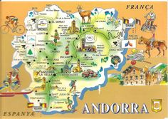 Map of Andorra Bon Plan Voyage, Tourist Map, The Beautiful Country, European Countries, Vintage Travel Posters, Adventure Is Out There, Barcelona, Vacation, Paisajes