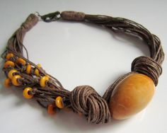 Yellow Tagua Nut Beads Organic Linen Necklace by ArteTeer on Etsy