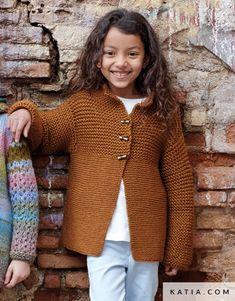 pattern knit crochet kids jacket autumn winter katia 6951 3 g Knitting Patterns Free, Baby Knitting, Crochet For Kids, Knit Crochet, Sewing Essentials, Hoodie Pattern, Yarn Brands, Winter Kids, Garter Stitch