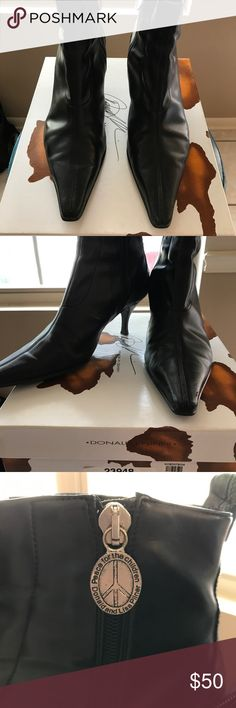 Donald Pliner Lola Size 9 Black/Black Calf Stretch/Antique Gator. Great boots. In fair condition. See pictures for scuffs on toes. Donald J. Pliner Shoes Ankle Boots & Booties