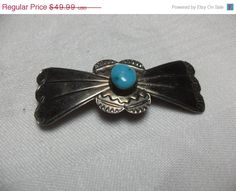 ON SALE Sterling turquoise brooch Native by GingersLittleGems