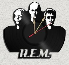 R.E.M Theme Vinyl Record Clock Upcycled vinyl records