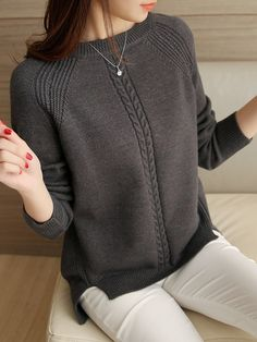 Diy Crafts - knit,loose-Round Neck Loose Fitting Plain Raglan Sleeve Knit Pullover - fitting knit loose Neck plain pullover raglan round s Handgestrickte Pullover, Pullover Sweaters, Women's Sweaters, Grey Sweater Outfit, Sweater Knitting Patterns, Knitting Ideas, Knitting Yarn, Knit Fashion, Fashion Fashion