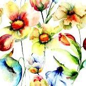 Naadloze patroon met wilde bloemen, aquarel illustratie photo