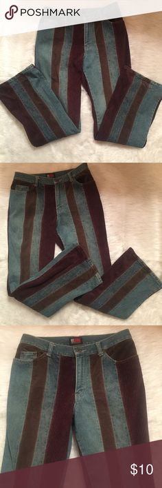 """👖VTG Preowned NY Company Denim/Corduroy Jeans 👖Preowned Jeans 👖 Panel of Denim/Dark Corduroy/Light Corduroy👖100% Cotton👖from Smoke and Pet free home👖NY Jeans by New York Company 👖Inseam is approximately 30""""👖The bottom leg size is Approx. 9 1/2"""" Wide.👖These jeans has a distressed look... Rise is 10"""" and the waist is 30:: NY COMPANY Jeans Boot Cut"""
