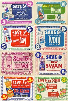 Old Procter & Gamble Coupons Retro Ads, Vintage Advertisements, Vintage Ads, Vintage Prints, Vintage Posters, Vintage Designs, Vintage Graphic, Retro Advertising, Retro Packaging