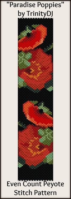 """""""Paradise Poppies"""" -  In The RAW - New pattern listed. Here's your chance to test bead new designs and earn DISCOUNTS on your next 'In the Raw' Design! Please follow this link for the direct download and/or kit: http://cart.javallebeads.com/Paradise-Poppies-Odd-Count-Peyote-Pattern-p/td111.htm"""