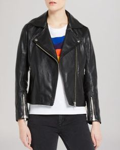 Sandro Jacket - Veinarde Leather Biker | Bloomingdale's