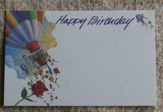 20 Happy Birthday Blank Cards w Hot Air Balloon and Roses.  Small gift tag or mini card sized.     Use #coupon code SPECIALSALE today in my Etsy shop to save 15%