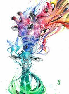 Artist Luqman Reza creates expressive animal paintings using watercolor paint. His artwork is truly stunning. Art And Illustration, Watercolor Illustration, Watercolor Art, Watercolor Paintings Of Animals, Animal Paintings, Animal Drawings, Art Drawings, Giraffe Art, Baby Giraffe Tattoo