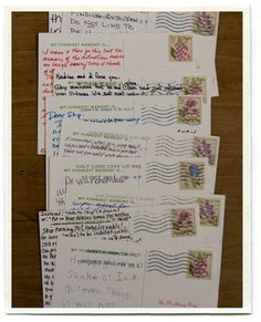 """My dad recently turned seventy and I wanted to do something special for him. I printed postcards on cardstock. I gathered addresses for seventy of the important people in my dad's life: family members, old classmates, dear friends and all his grandchildren. Included in the envelope was a card explaining that it was dad's birthday, and that they needed to send the postcard back sharing their funniest memory of him. To make things easy, I pre-addressed and pre-stamped the postcards so all they..."