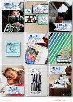 I love these label collage cards by Nicole Reaves at Reaves, party of four using the Studio Calico Office Hours kit.