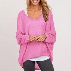 Buy here: http://www.newdress.com/new-women-fashion-casual-oneck-loose-irregular-batwing-long-sleeve-tops-blouse-p-28466.html?utm_source=pin&utm_medium=cpc&utm_campaign=Crystal-Enwa New Women Fashion Casual O-Neck Loose Irregular Batwing Long Sleeve Tops Blouse