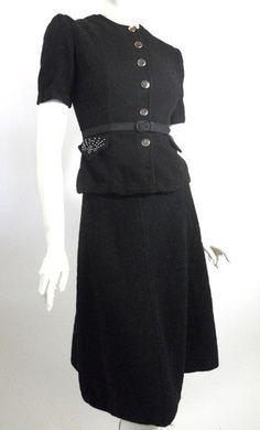Studded Black Nipped Waist Suit Dress circa 1940s - Dorothea's Closet Vintage