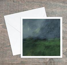 Carte de vœux, dessin paysage abstrait original, bleu vert noir jaune, 5,25x5,25, intérieur blanc. Carton satiné, grande qualité, enveloppe. Polaroid Film, Blue Green, Yellow, Custom Map, Abstract Landscape, Envelope, Greeting Card, Impressionism