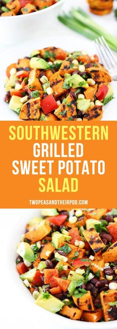 Southwestern Grilled Sweet Potato Salad with black beans, corn, avocado, red pepper, cilantro, and lime. This is the BEST summer potato salad recipe.