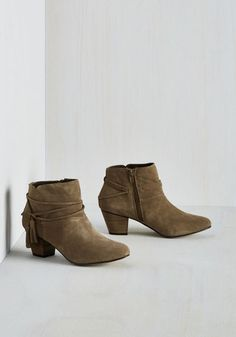 To the Festive my Knowledge Bootie. As far as youre concerned, these taupe ankle boots by Chelsea Crew were made to get the party started! #grey #modcloth