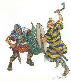 Roman legionary vs. a Germanic warrior, c. 1st century, CE, illustration by Giuseppe Rava