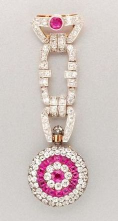 Ruby and Diamond Lapel Watch   Platinum, silver, gold, the pendant watch of circular form, centering one round ruby, further encircled by 17 cushion-shaped rubies, encrusted with 125 old-mine cut diamonds, approximately 4.35 cts., the crown set with numerous rose-cut diamonds, dial and cuvette signed Henry Capt., Geneve, L. Gallopin & Co. Inc., Geneve, #4116, circa 1890, supported by shaped links set with 56 old European-cut diamonds, approximately 2.00 cts., topped by one round ruby, c…