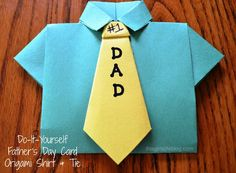 Create this DIY Father's Day Card, an origami shirt & tie with only two pieces of construction paper. Super easy DIY card craft for your children.