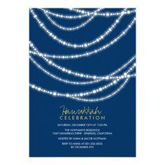 Holiday Sparkles Hanukkah Celebration Party Invitation by fatfatin