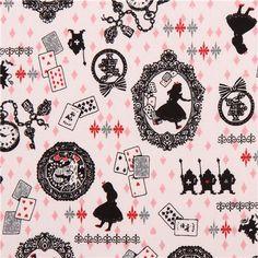 white Kokka Alice in Wonderland fairy tale fabric from Japan 1