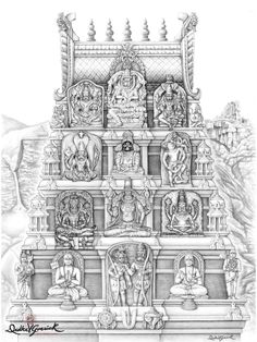Divyakala showcases a unique blend of classical Indian art through the eyes of US born artist Drdha Vrata Gorrick. Hindus, Indian Gods, Indian Art, Temple Drawing, Indian Temple Architecture, Indian Illustration, Lord Vishnu Wallpapers, Temple Design, Tanjore Painting