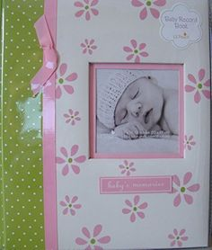 Pearhead Lil Peach Baby Record Book Pink Girl Flowers Scrapbook Photo Album by Lil Peach