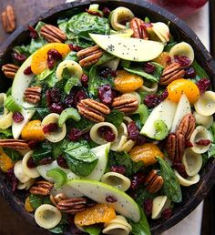 If you're looking for a salad to serve for Easter dinner, you won't find a more tasty salad than this Spinach Pasta Salad with Pecans and Mandarin Oranges.